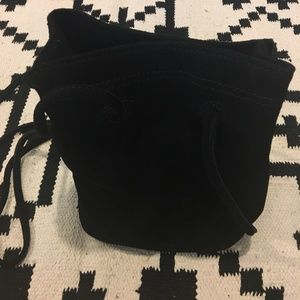 Culture Riot black drawstring suede purse